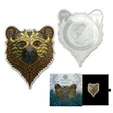 2021 Solomon Islands 1 oz Grizzly Spirit Animals Phil Lewis Silver Coin