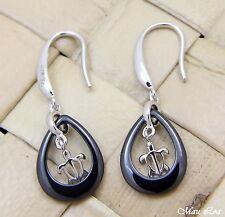 925 Silver Rhodium Hawaiian Honu Turtle Black Ceramic Tear Drop Hook Earrings