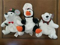 Coca-Cola Beanies Polar Bears Penguin Lot of 3 New 1997