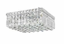 "4-Light 12"" x 5.5"" Apollo Square Shape Clear Crystal Flush Mount Ceiling Light"