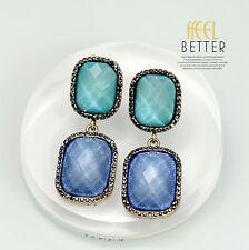 Boucles d'Oreilles Clips Doré Pinces Art Déco Rectangle Vert Bleu Vintage J2