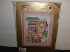 Cross Stitch Kit Teddy & Quilt Cabinet Candamar Designs-Something Special