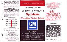 Pontiac Optikleen Windshield Wiper Washer Glass Solvent Bottle Decal Sticker NOS