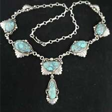 """Vintage Navajo Signed LT Chee Sterling Silver Turquoise Necklace 21"""" WB8-LTC6"""