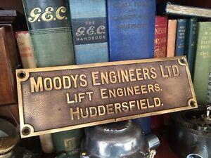 Original Old industrial Cast Brass Machine Plate Moodys Engineers Huddersfield