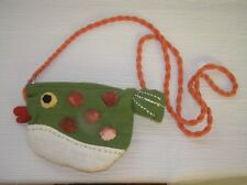 Gently Used Green Fabric Fish with Polka Dots & Red Lips Small Purse with Long