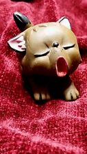 Lanco vintage toy yawning cat kitten from spain old plastic rubber 2 inches tall