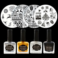 8pcs/set Christmas XMAS Round Nail Stamping Plates & Stamping Polish Kit Set