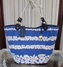 Tommy Hilfiger Floral Tote Shoulder Bag Convertible Blue White Canvas NWT $99