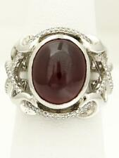 NEW 14k WHITE GOLD 5ct OVAL NATURAL CABOCHON RUBY 3/4ct DIAMOND RING 12.2g 18mm
