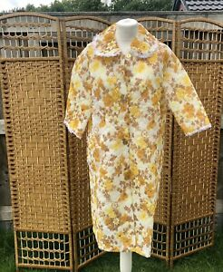 Vintage Quilted Dressing Gown House Coat Floral Yellow Brown 12 - 14 Lace Trim