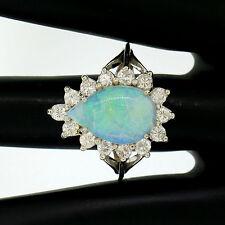 Estate 14k White Gold 3.62ct Pear Cut Australian Opal Diamond Halo Cocktail Ring