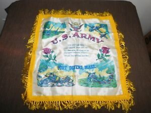 VINTAGE WWII US ARMY FORT DEVENS MASS SWEETHEART PILLOW COVER