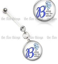 Baby Boy on Board Bunny CZ Maternity Belly Ring Pregnancy Navel Retainer 14ga 1""
