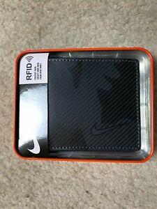 NIB NIKE  BLACK/GREY BIFOLD Wallet WITH RFID