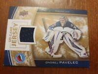 UD Game Jersey Special Edition Hockey Hall of Fame card featuring ONDREJ PAVELEC