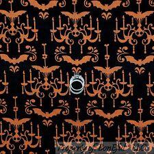 BonEful Fabric Cotton Quilt Black ORANGE Halloween Skull Bat Dot Stripe US SCRAP