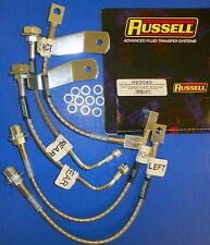Russell 693040 Stainless Steel Braided Brake Line Hose Kit Mustang GT 1994-1995