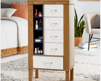 Modern Natural Wood Free Stand Jewelry Armoire Retro Cabinet Mid Century Chest