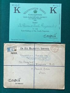 Antique Royal British Coronation Ticket King George V Queen Mary Rev Hargrove