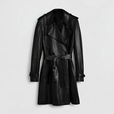 Burberry Man Lambskin Leather Trench Coat Size 38US Or 48UK Color Black