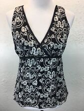S10 White House Black Market Sz M Silk Blend Floral Sleeveless Tie Back Tank Top