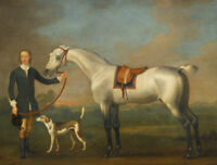 LMOP795100% painted hand lady hold animal horse dog  art oil painting on canvas