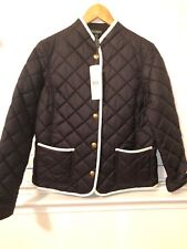 NWT Ralph Lauren Black   With Gold Buttons Quilted Coat Jacket size Small
