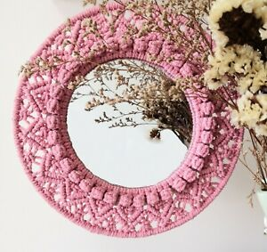 Macrame Mirror, Round Macrame Wreath, Bohemian Mirror, Wall Mirror Hanging