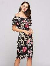"""ZARIAH"" STUNNING LADIES SIZE 10 BLACK FLORAL OFF SHOULDER STRETCH PENCIL DRESS"