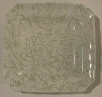 Cynthia Rowley Green White Ceramic Dinner Plate Square Floral Swirls EUC