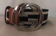 Hebilla Cinturón Con G GUCCI, azul marino, blanco y Cuero Tostado, 100% Original