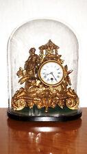 Antik Französische Figürliche Pendeluhr, Kaminuhr unter Glasdom 40 cm Hoch
