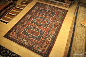 Sumak Kilim 6' X 9' Handmade Wool rug Caucasian design Red Blue Brown #PM75