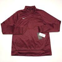 Nike Dri Fit Therma Burgundy Quarter Zip Long Sleeve Pullover Women's Medium NWT