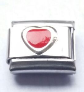 Red LOVE HEART July Birthstone Italian Charm Fits Classic Bracelet Charms Link