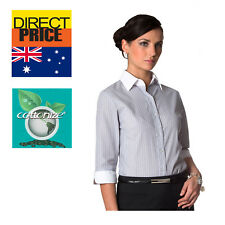 Women Shirt Blouse Tops White Collar Cuffs Office Casual Formal  Business Grey