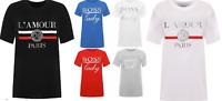 New Women's Plus Size Boss Lady Amour Paris Slogan Foil Print T-Shirt New Ladies