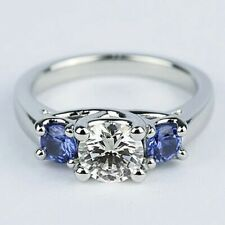 3 Ct Round Cut Diamond & Sapphire 3 Stone Engagement Ring 14K White Gold Over