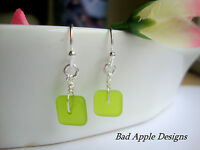 Square Green Frosted SEA GLASS Silver Dangle Earrings USA HANDMADE