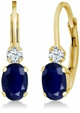1.18ctw 14K Yellow Gold Over Blue & White Created Sapphire Drop/Dangle Earrings