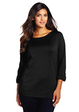 Jones New York Women Top Plus Size 3/4 Sleeve Boat Neck Roll Cuff Black Shirt 2X