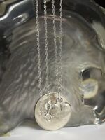 375 WHITE GOLD LADIES - TWIST LINK NECKLACE WITH HEART PENDANT / FAITH HOPE LOVE
