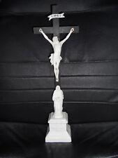 ANCIEN GRAND CHRIST SUR CROIX CALVAIRE 38CM BISCUIT ET PORCELAINE FIN 19ème TBE