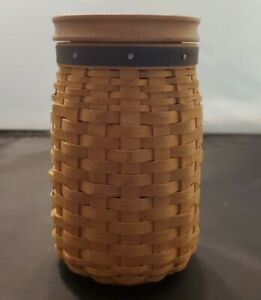 Longaberger 2003 Blue Ribbon Pride Basket Coin Bank With Lid Warm Brown