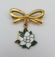 "Vintage Gold Tone Brooch Pin with Bow and Enamel Flower 1"" x 1"""