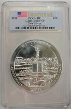2011 .25 Cent Gettysburg Np 5 Oz Fine Silver First Strike PCGS