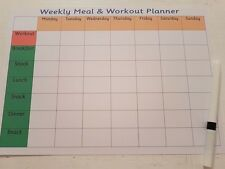 Wipe clean Weekly meal and workout planner -with pen - exercise & healthy eat
