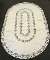 72x108'' Oval Embroidered Fabric Embroidery Polyester Tablecloth 12 Napkins