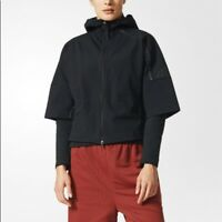 Adidas Size XS Z.N.E Black Womens Hoodie 1/2 Sleeve Running Yoga RRP160 NWT